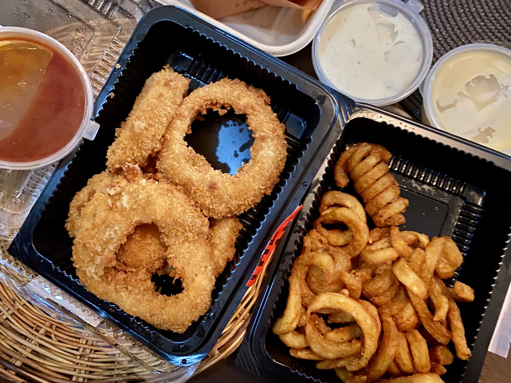 onion rings and twist fries